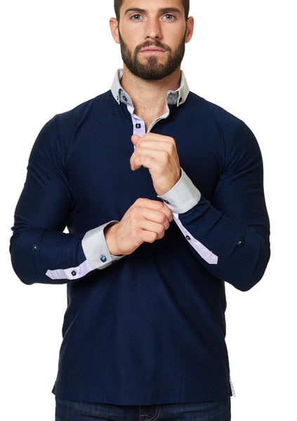 navy blue long sleeve polo shirt designed by Maceoo shirts - polo shirts Polo L Stripe Wave Navy long