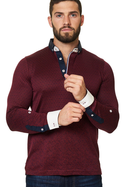 Burgundy long sleeve polo shirt designed by Maceoo shirts - Polo L Triangle Burgundy