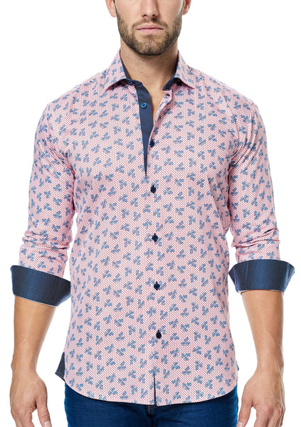 Cuff folded light red shirt with paisley print and navy trim inside the collar cuff and front placket from Maceoo shirts