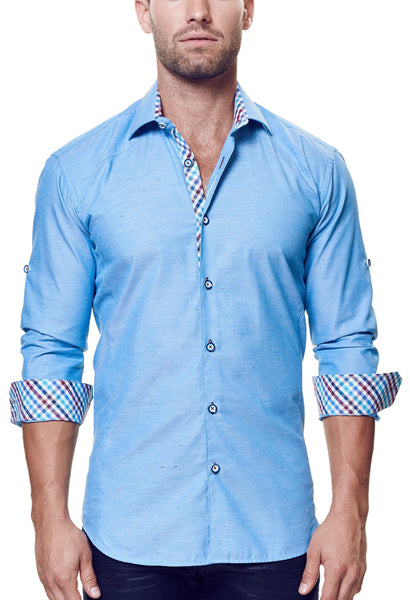 Maceoo shirts Flavour blue granite folded