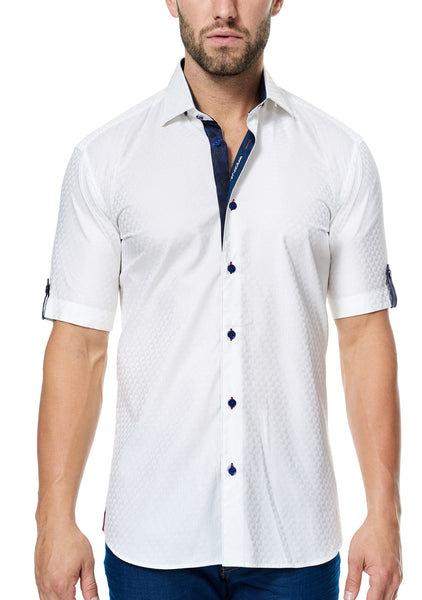 Italian fabric luxury cotton Maceoo white shirt sleeve shirt with trim inside collar and cuff