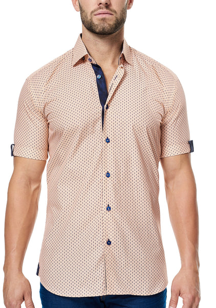 Maceoo orange mango triangle short sleeve shirt made with Italian fabric