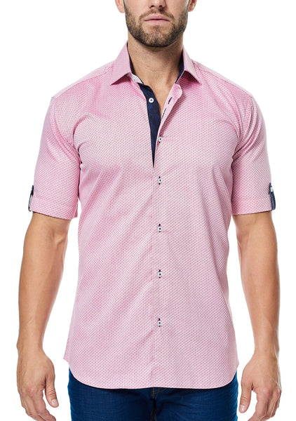 Maceoo red ripple short sleeve shirt made with Italian fabricRed Ripple
