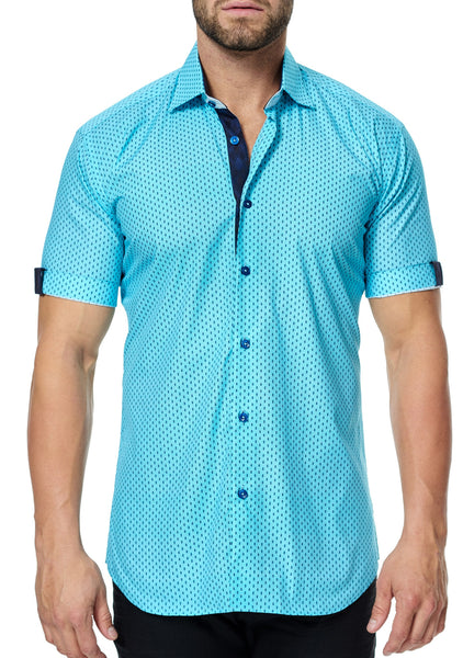 Maceoo turquoise triangle short sleeve shirt made with Italian fabric