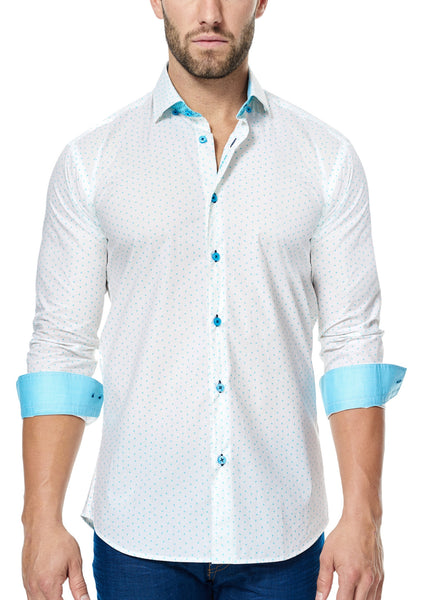 Maceoo white shirt with Turquoise button and turquoise contrast fabric inside collar and cuff