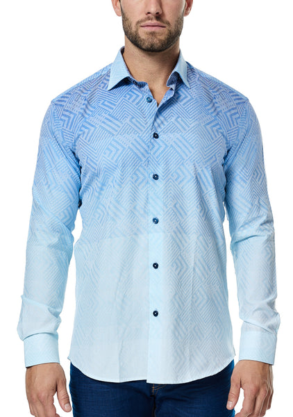 Maceoo blue long sleeve shirt with gradient effect and made with italian fabric
