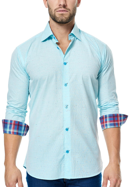 Maceoo turquoise shirt with checkered trim inside collar and cuff