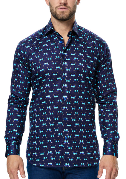 Maceoo navy dress shirt with turquoise and purple butterflies