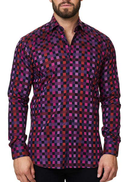 Maceoo pink checkered shirt for men made with Italian fabric