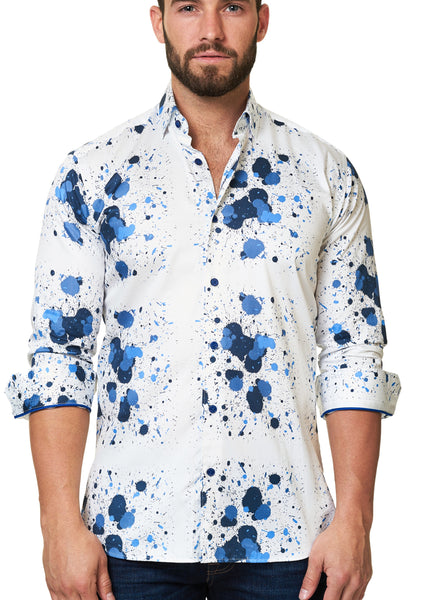 Maceoo white shirt for men with blue paint splash - Desigual white blue
