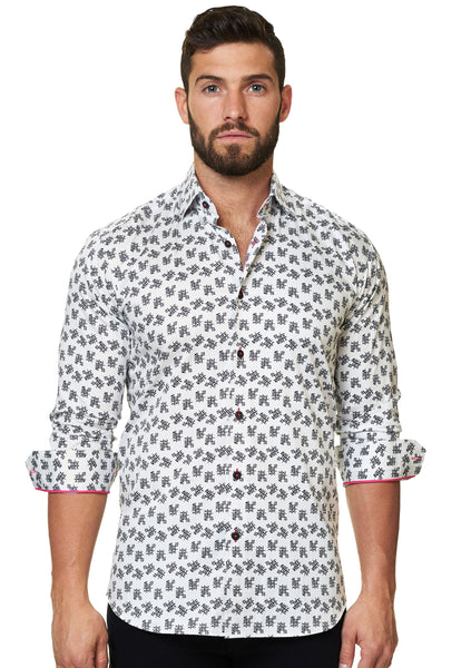 Italian fabric White dress shirt for Men with Xoxo print from Maceoo shirts