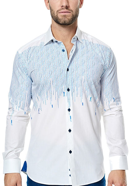 Maceoo white shirt with blue drip painting design