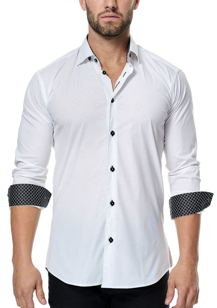 Maceoo white shirts made with Italian fabric Paisley White Laser