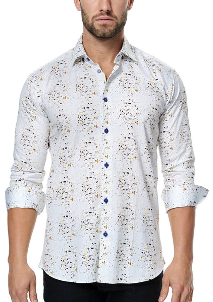 Italian fabric Maceoo white shirts with paint splash in yellow purple