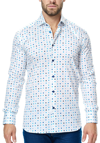 Italian fabric Maceoo white shirt with geometric print in blue navy turquoise black