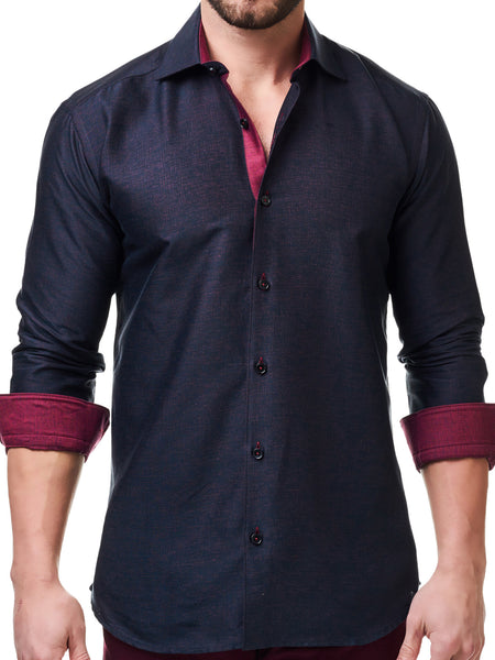 Maceoo shirts Luxor Red Matrix cuff up