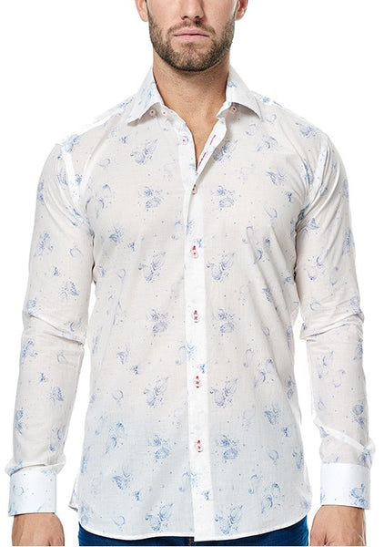 Maceoo white shirt blue paisley design Murti front