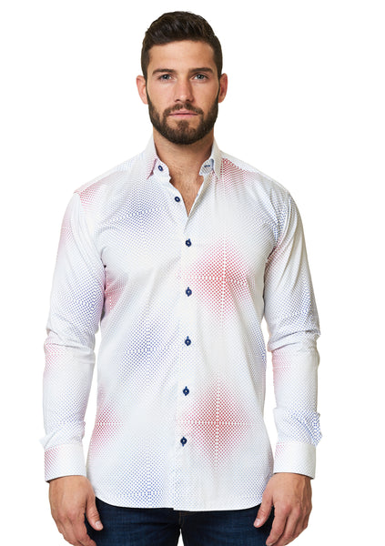 Maceoo long sleeve luxury shirt with Red and blue for America