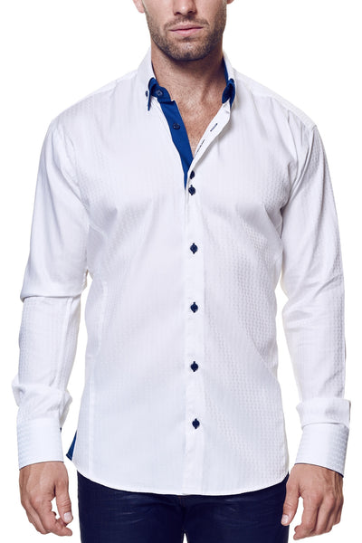 Maceoo shirts POINTSEC WHITE STRIPE long