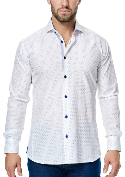 Maceoo long sleeve luxury white dress shirt for men with blue buttons