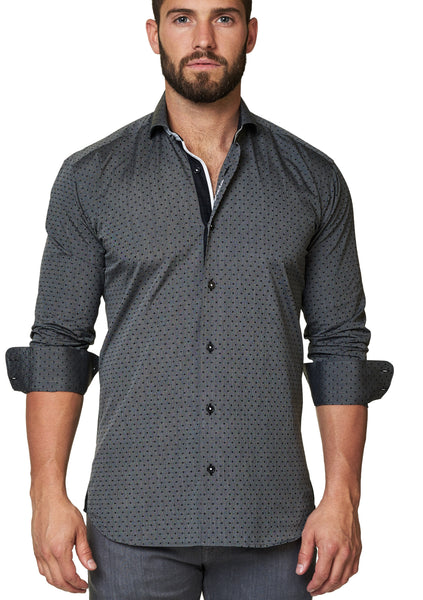 Maceoo grey shirt for men with trim on front placket and collar