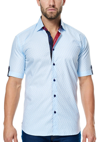 Maceoo light Blue short sleeve shirt with contrast fabric inside collar cuff and front placket