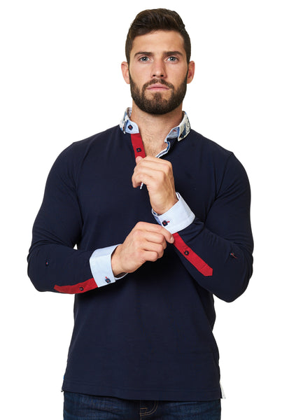 long sleeve navy blue polo shirt with a dress shirt collar designed by Maceoo shirts