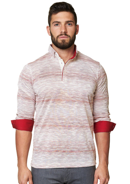 Red and white long sleeve polo shirt with a dress shirt collar designed by Maceoo shirts