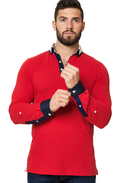 red long sleeve polo shirt with a dress shirt collar designed by Maceoo shirts