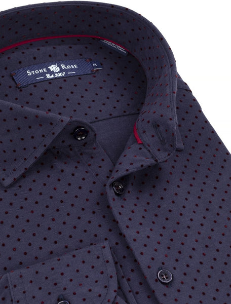 Stone Rose navy shirt with with burgundy flock detail