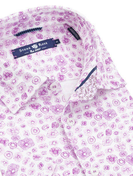Stone Rose short sleeve bright purple shirt