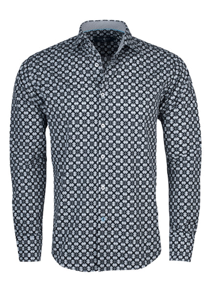 Stone Rose black shirt with geometric print and made with combed cotton