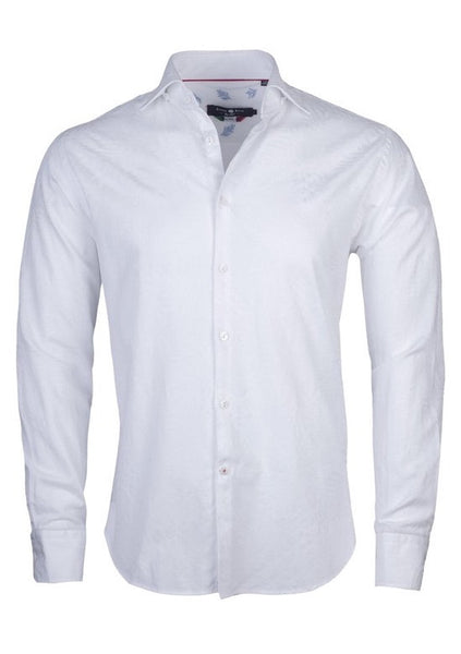 white dress shirt for men with Leaf embroidery by Stone Rose shirts