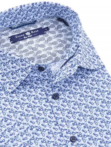 Stone Rose funky white & blue short sleeve shirt presented by Modus Man