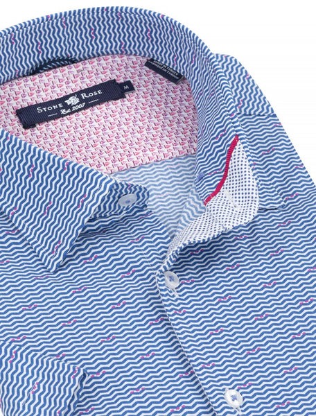 Short Sleeve Shirt - Wavy Stripes