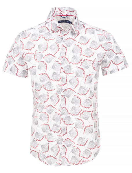 white short sleeve stone rose shirt with big leaf print