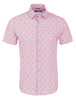 stone rose short sleeve shirt with dark pink pineapple print