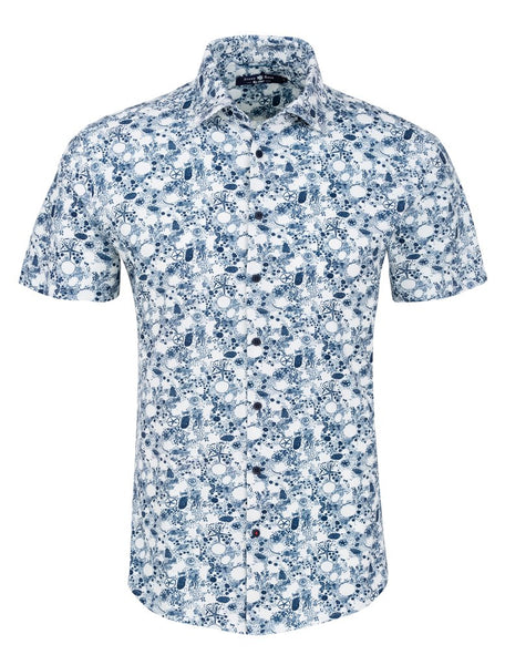 Stone Rose funky white & navy short sleeve shirt presented by Modus Man