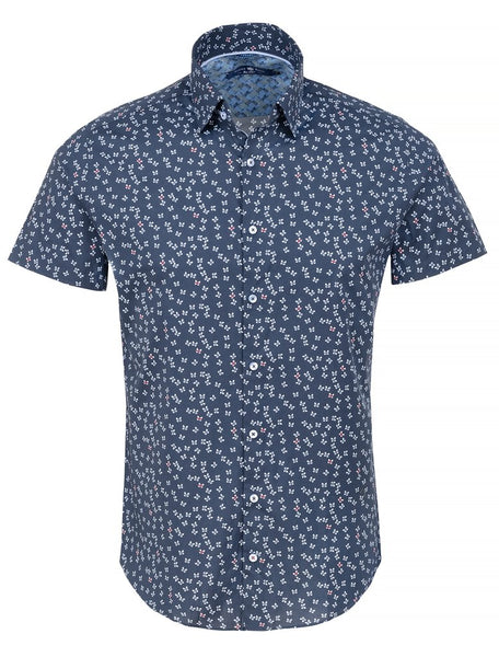 Dark navy short sleeve shirt with butterfly design by Stone Rose shirts
