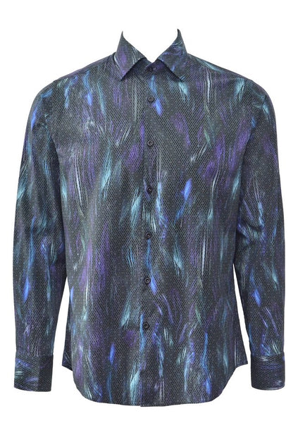 Stone rose black shirt for men with funky pattern-MEX 7204 Black front
