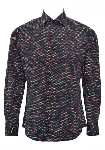Stone Rose shirts in black and red multi dimensional print PAC 7205 RED