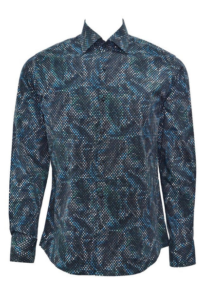 Stone Rose shirts in black and red multi dimensional print PAC 7205 teal