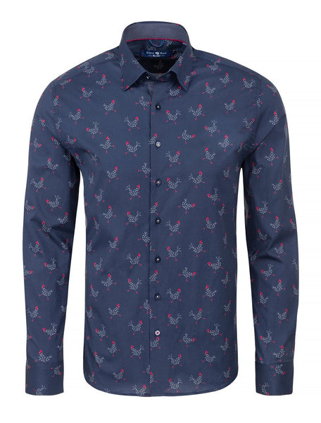 Navy long sleeve luxury shirt with chicken print