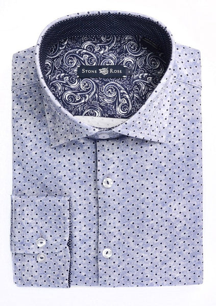 Stone rose shirt with navy polka dots and washed effect