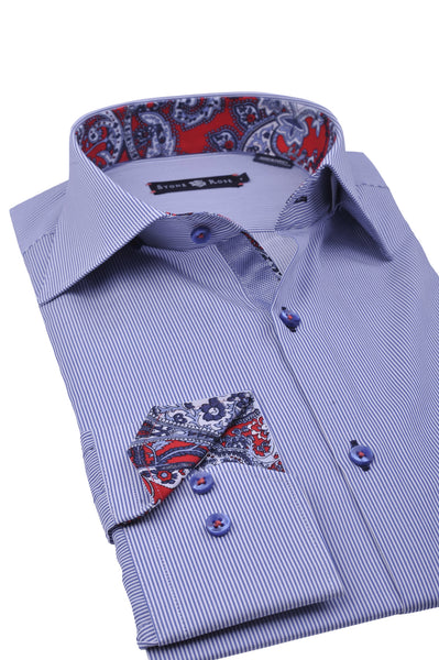 folded Stone Rose blue stripe shirt with paisley design inside collar and cuff