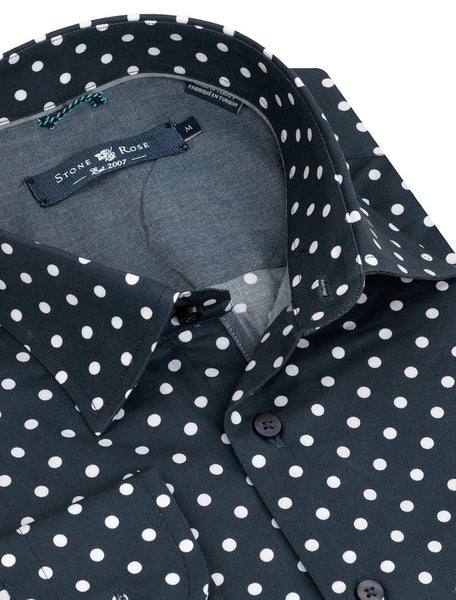 stone rose navy shirt with white dots