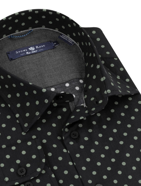 black stone rose shirt with green dots