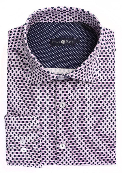 Stone Rose lavender shirt with geometric print made with Italian fabric