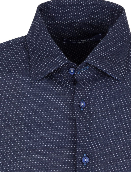 Fabric and collar detail of a blue long sleeve shirt for men from the Fall 2018 Stone Rose shirts collection