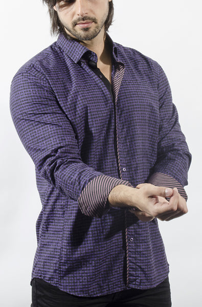 Purle plaid shirt from Via uomo - Domori purple